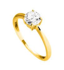 814.0352- Gouden solitaire ring Diamonfire